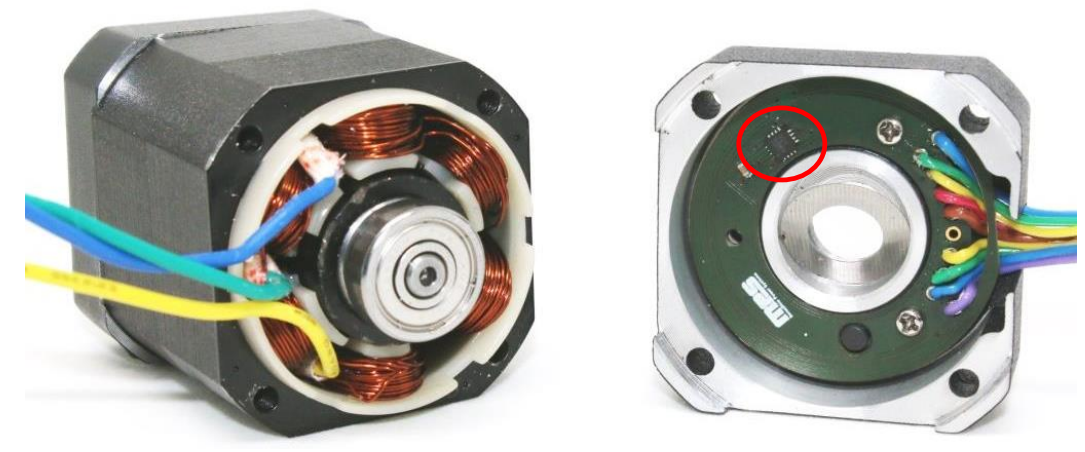 Figure 1: Open BLDC Motor with a MagAlpha on the PCB (Red Circle)