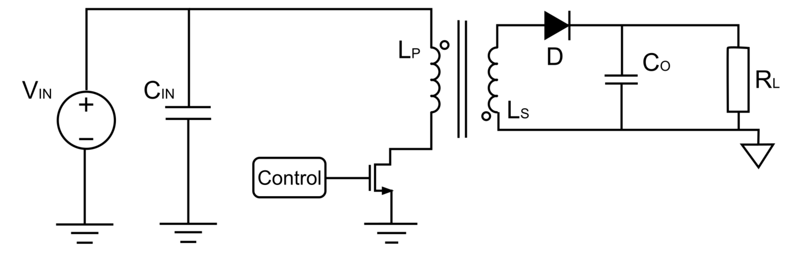 Figure 1: Circuit Schematic of a Flyback Converter