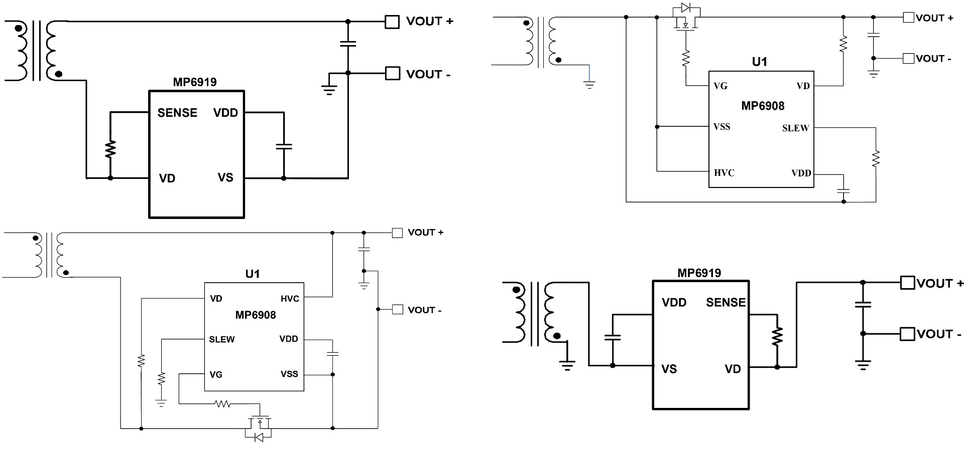 Figure 5: MP6908 Controller and Ideal Diode Application Circuit on Low Side and High Side