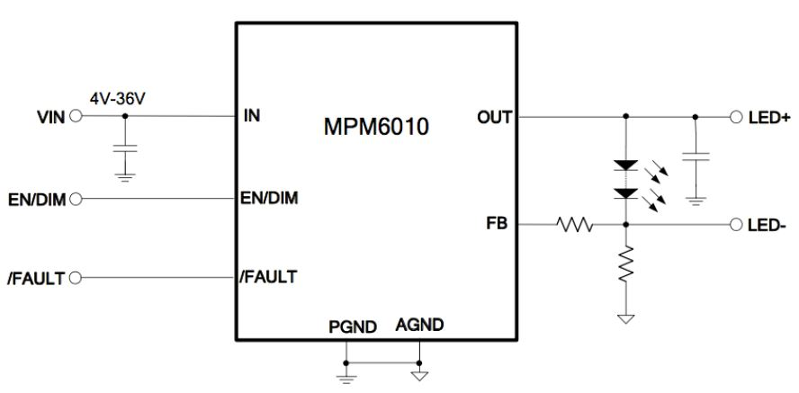 Figure 2: Typical MPM6010 Application Circuit for 1.5A