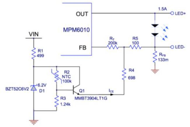 Figure 5 MPM6010 Thermal Foldback Circuit
